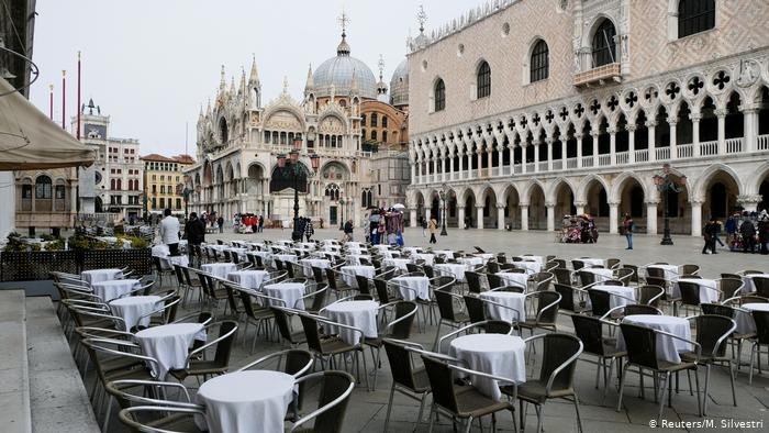 Deserted tables in Veneice, Italy
