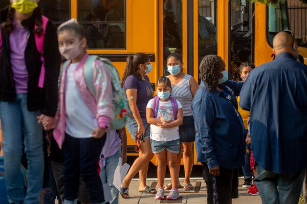 Students at Normont Elementary on the first day of school in Los Angeles on Aug. 16.